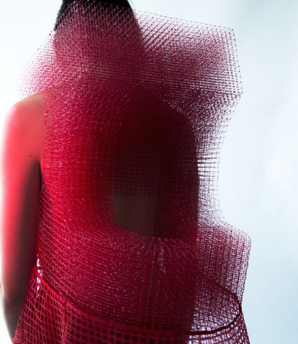 Jim Chen-Hsiang Hu, developed the concept of 3D weaving out of thread and resin.