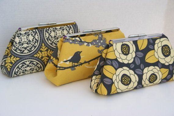 Custom Bridesmaids Gift Yellow and Gray Wedding Party Clutch- Design your Own