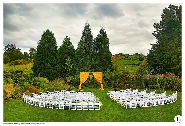 Gorgeous outdoor wedding ceremony setup at McMenamins Edgefield Blackberry Hall.