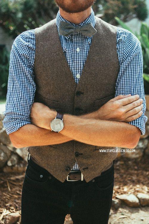 "Vest: Ludlow Herringbone Wool - J. Crew - $73.50 (similar) Shirt: J. Crew Factory - $29 Jeans: Topman - $16 (from Buffalo Exchange) (similar) Shoes: Holt - Robert Wayne - (JackThreads) Bow Tie: Chambray Diamond Tip (BD204) - The Tie Bar - $15 Belt: J. Crew Factory - $22 Sunglasses: Kinney - Garrett Leight (c/o) Watch: Classic Bristol - Daniel Wellington (c/o) - 15% off with code ""stayclassic"" until August 15!"
