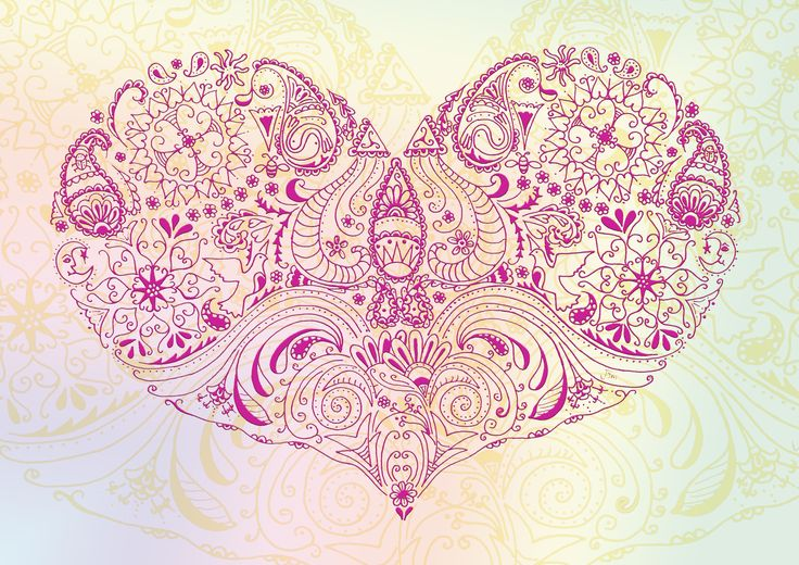 Paisley Heart Pink Illustration. Ink pen hand #Drawing like a #Zentangle www.facebook.com/jonismithart to buy any of my art or art prints
