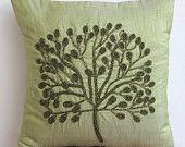Cuscino decorativo accento Copertine Cuscini divano divano Toss 16x16 cuscino di seta verde copertura perlina ricamato verde albero Home Living Decor