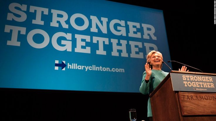 Hillary Clinton's would-be campaign slogans, ranked / Wed / SEATTLE -- OCT 14: Democratic Presidential Candidate Hillary Clinton arrives at Boeing Field in Seattle, address a fundraiser, Seattle, Washington, October 10, 2016.  Jennifer Pamper on plane. (Photo by David Hume Kennerly/GettyImages)