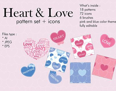 "Check out new work on my @Behance portfolio: ""Heart & love pattern set + icons"" http://be.net/gallery/54249651/Heart-love-pattern-set-icons"