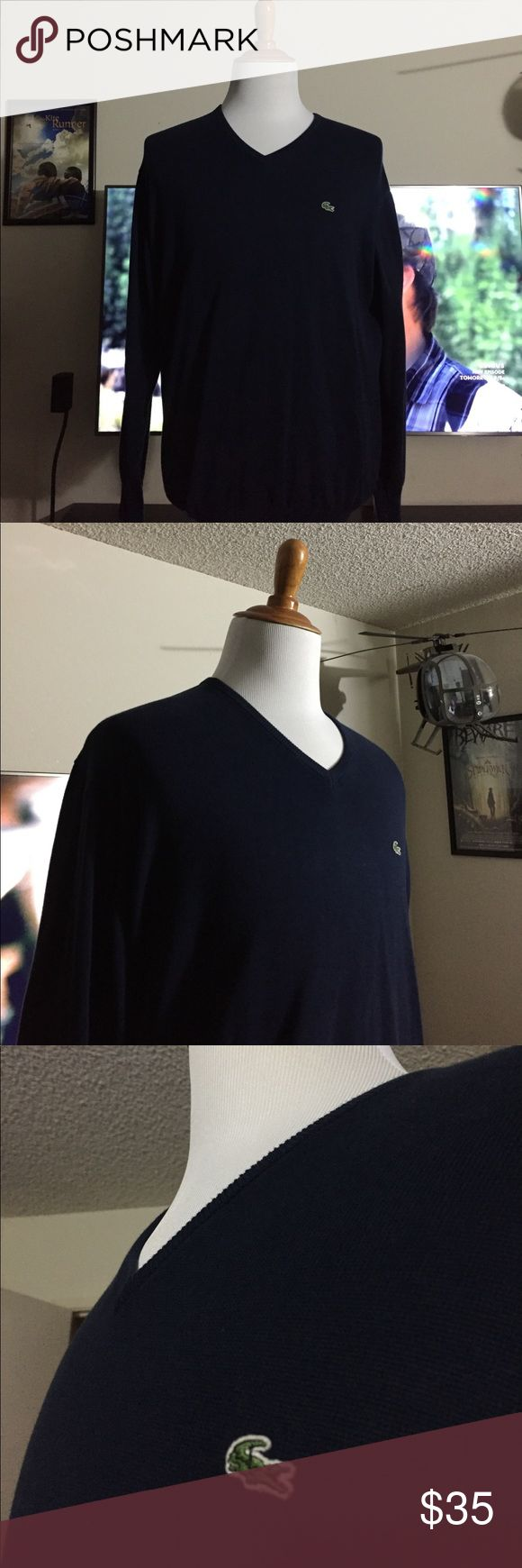 LACOSTE MENS V NECK SWEATER LARGE 5 L AUTHENTIC LACOSTE SIZE 5 BLUE SWEATER. Bundle to save with shipping. Lacoste Sweaters V-Neck