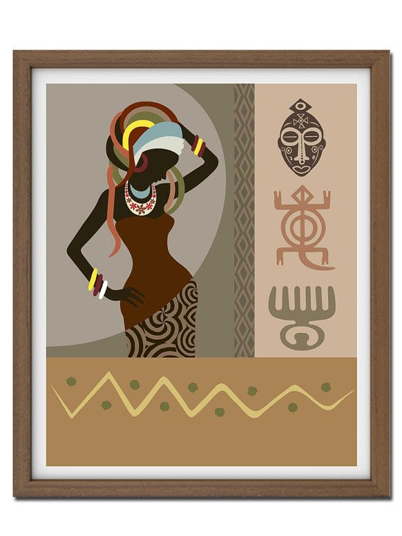 African Art Woman, Adinkra African Symbols, African Art Print, Modern Woman Painting, Abstract Women Painting
