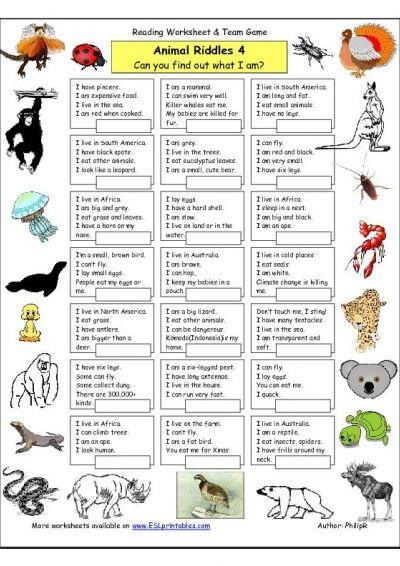 riddle worksheet animal riddles 4 more difficult worksheet free esl printable400 kid. Black Bedroom Furniture Sets. Home Design Ideas