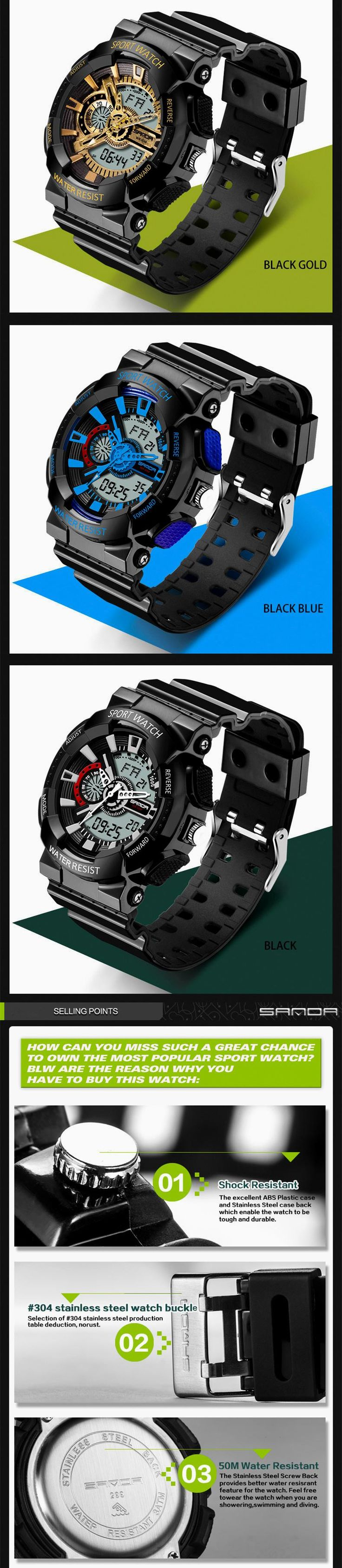 2016 new listing fashion watches men watch waterproof sport military G style S Shock watches men's