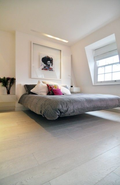 Interior design - bedroom with a floating bed