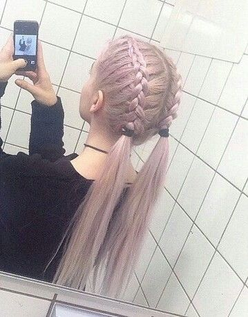i love the soft hair color and her pig-tail braids are so cute!