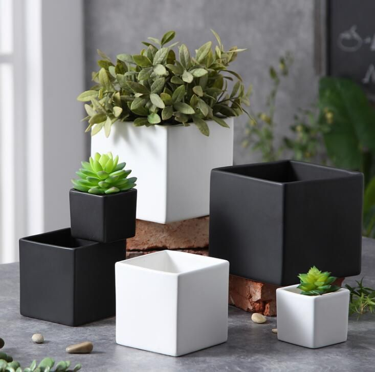 Modern Square Ceramic Planter Ceramic Flower Pots Plant Pot Diy