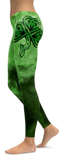 Irish Smoking Shamrock Leggings; $79.99USD; sizes XS-XL; at GearBunch.com