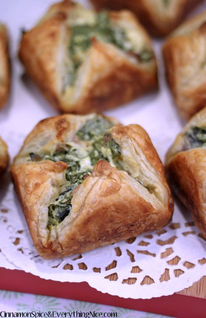 Spinach Puffs - Baked pastry puffs stuffed with a cream cheese, feta, bacon and spinach filling.
