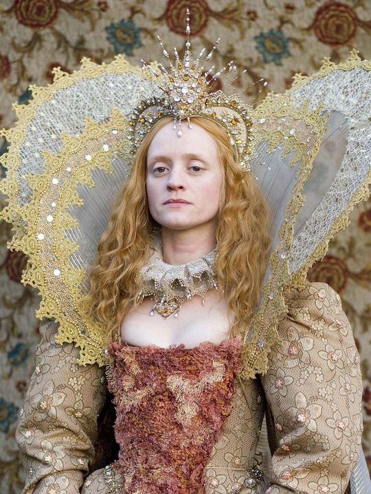 Anne-Marie Duff as Queen Elizabeth in The Virgin Queen (2005).  35 when filmed.