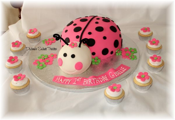 Pink Ladybug Cake   this cute and colorful pink ladybug cake was for giselle s first ...