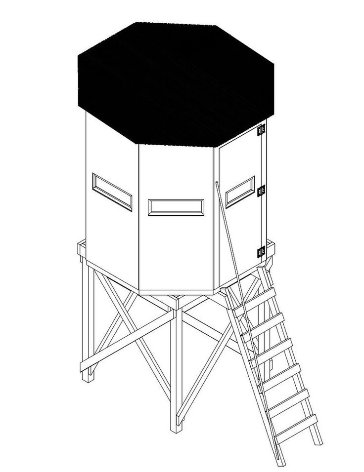 Illustration of an octagon deer blind plan