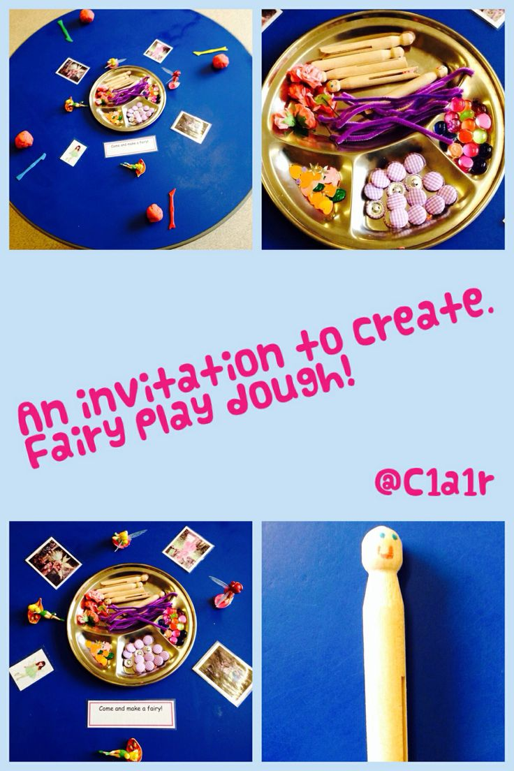 An invitation to create fairies and fairy land. EYFS play dough activity.