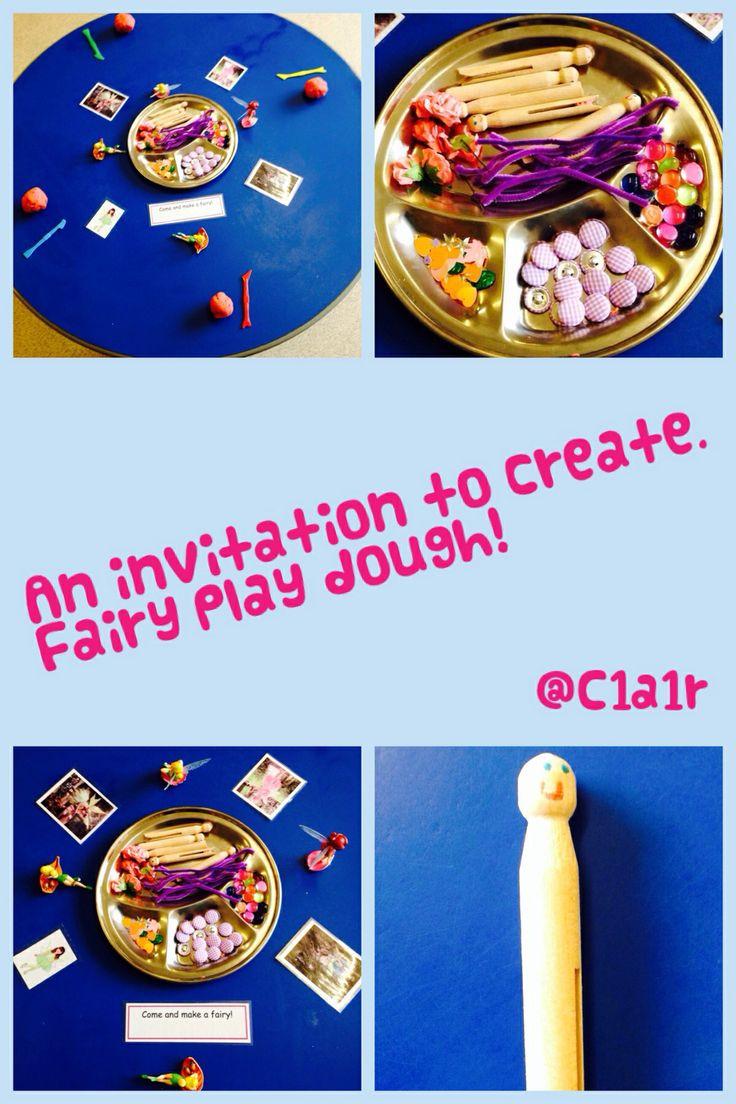 An invitation to create fairies and fairy land. EYFS play dough activity.