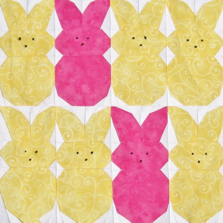 """What a great free quilt pattern for Easter. It's the """"Peeps!"""" quilt. Here's what the creator wrote about it ….Designed as part of Whims &..."""