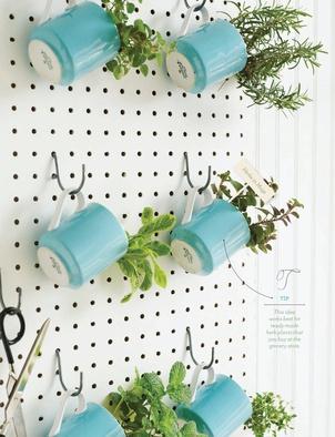 Herbs in coffee cups on a pegboard. Sweet Paul Magazine