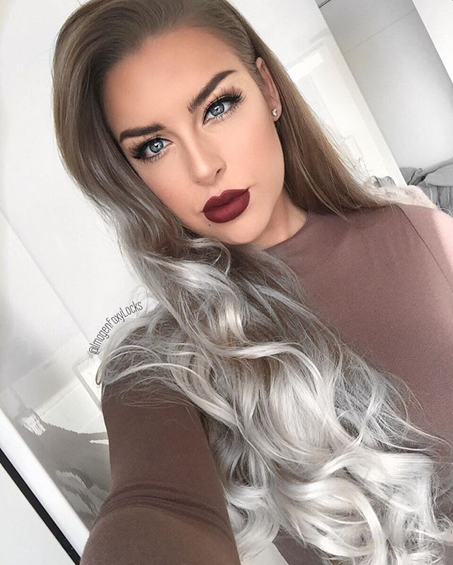 "Grey 🌫  Wearing my @foxylocks 20"" Superior Ombre Clip in Extensions ❤️ Lips ~ @anastasiabeverlyhills Liquid Lipstick in 'Heathers' 👄  Lashes ~ @foxylocks 'Lovely Lashes' 👌🏼 Brows ~ @anastasiabeverlyhills Brow Definer in Medium Brown from @cultbeauty ❤️"