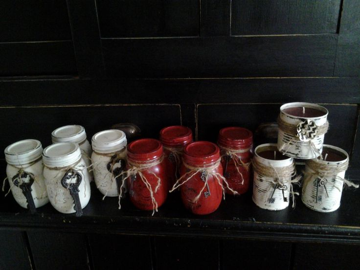 Painted Mason jars with scented candle Rusty Nail Home Decor Pinterest Painted mason jars ...