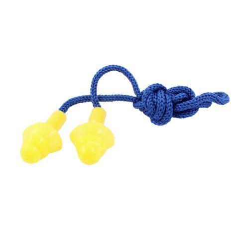 Blue Stretchy String Silicone Swim Ear Plugs Yellow w Storage Case.