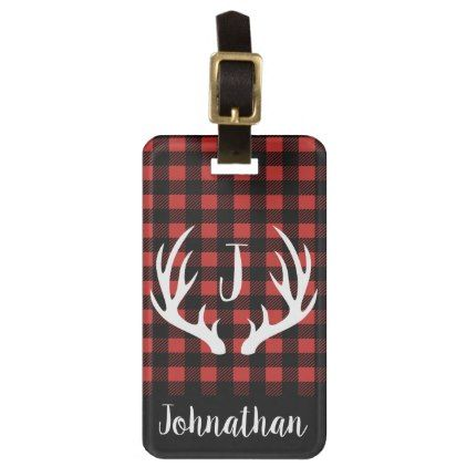 Rustic Buffalo Check Plaid & White Deer Antlers Luggage Tag - black and white gifts unique special b&w style