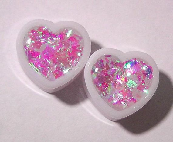Diamond Heart Iridescent Heart plugs embedded resin filled - Made to Order 1/2,9/16,5/8,11/16,3/4,7/8