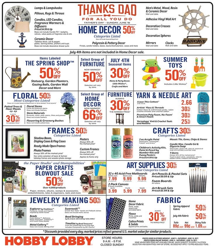 Hobby Lobby Weekly Ad June 4 - 10, 2017 - http://www.olcatalog.com/grocery/hobby-lobby-weekly-ad.html