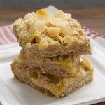 Peach Crumble Bars. Try with Earth balance.