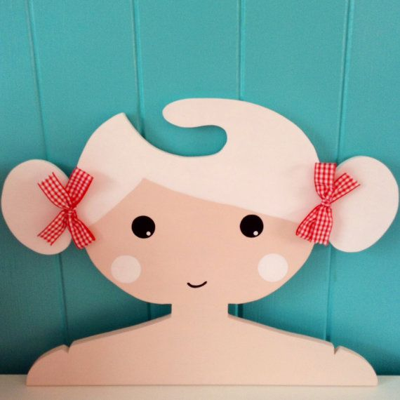 Childrens Clothes Hanger with White Hair and Buns... by Daisymooo