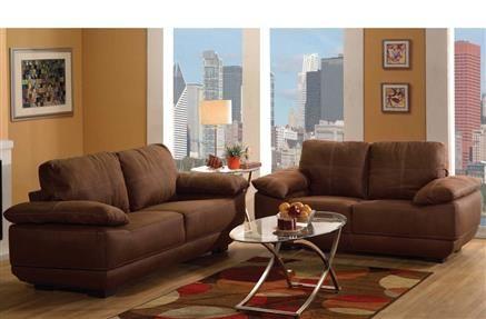 Memphis Chocolate Nubuck Leather Living Room Set | Living ...