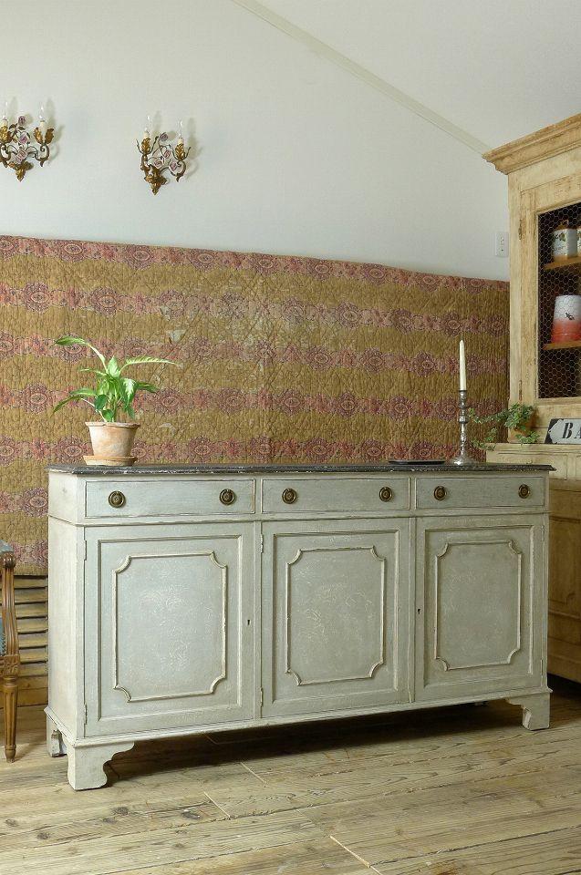 アンティーク カウンターキャビネット(グレー) French antique cabinet