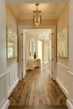 Love the cream walls white wood & medium wood floors!
