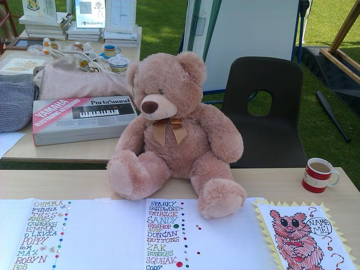 Teddy on his name the bear stall at the school fete. He went to a loving home; who know nothing of his adventures.