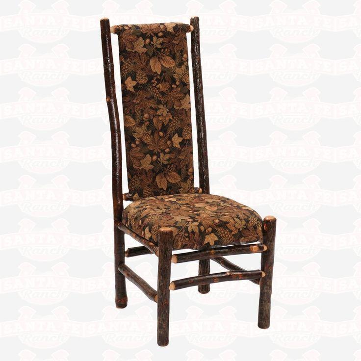 Fireside Lodge Furniture Hickory High Back Upholstered Seat & Back Side #DiningChair #westernfurniture #rusticfurniture         http://www.santaferanch.com/