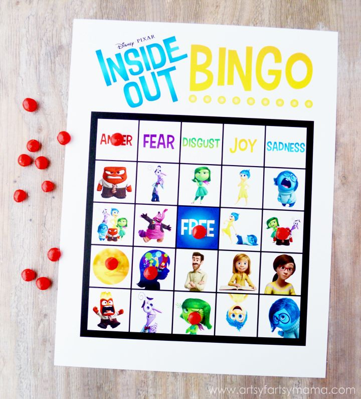 Free Printable Inside Out Bingo at artsyfartsymama.com #InsideOutMovieNight