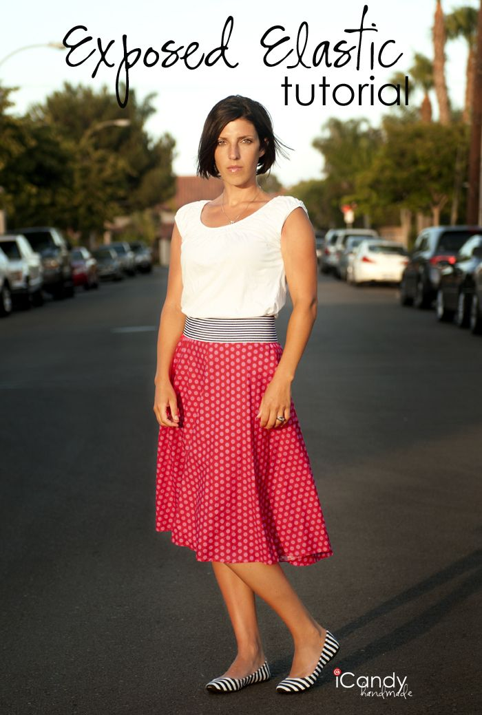 Excellent photo tut on I candy. How to neaten up your skirts elastic. exposed elastic skirt