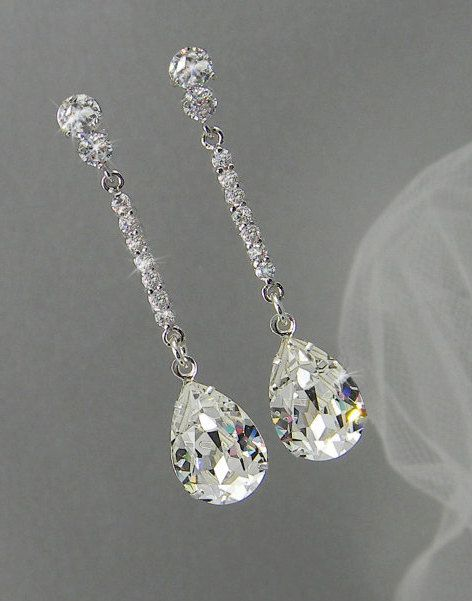 Crystal Bridal earrings Wedding jewelry by CrystalAvenues on Etsy, $46.00                                                                                                                                                     More