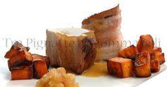Pancetta di maiale cotta a bassa temperatura alla birra e miele, con patate dolci americane saltate e chutney di pere all'anice stellato e senape   Tra Pignatte e Sgommarelli