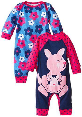 baby clothing | Gerber Baby-Girls Newborn Kangaroo 2 Pack Coverall, Kangaroo, 18 Months