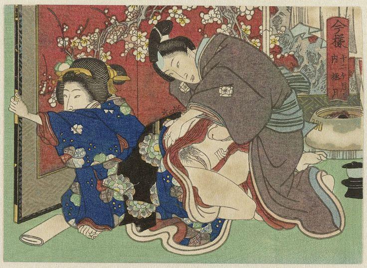 Anonymous   Gokugetsu, de twaalfde maand, Anonymous, 1835 - 1845   De vrouw zit op de grond en schuift het kamerscherm dicht terwijl de man haar obi losknoopt. Het losknopen van de obi is een ritueel waarbij de vrouw zich aan haar partner geeft voor die nacht.