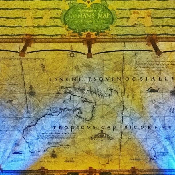 .@Henry Lee   Abel Tasmans map of Australia (c. 1644), as marble floor mosaic (c. 1947, Me...