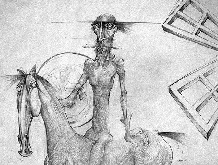 Don Quijote #drawing #paper #artwork #vetroandras