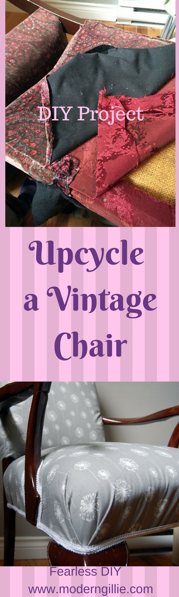 Reupholster a vintage chair, school of Youtube style. My first effort at upholstery with a chair thrifted from the garbage. restore vintage chair, reupholster vintage chair, reuse furniture