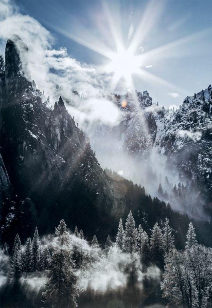 paysage montagne neige, sapins enneigés, brume de matin, rayons du soleil