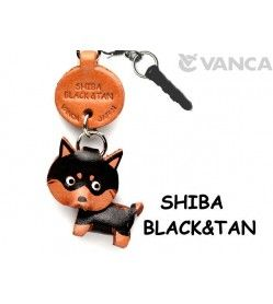 Shiba Black&Tan Leather Dog Earphone Jack Accessory