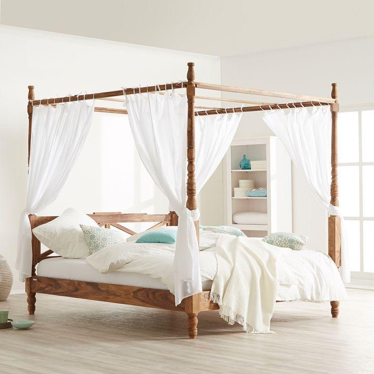 hemelbed bombay incl stof massief sheeshamhout. Black Bedroom Furniture Sets. Home Design Ideas
