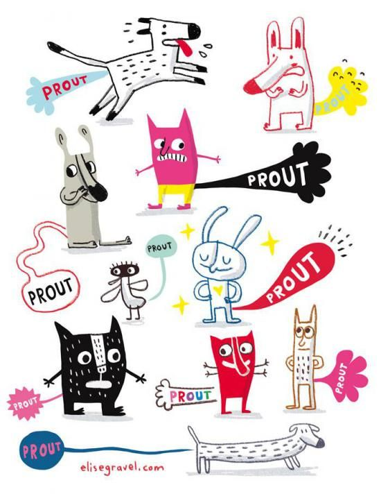Elise Gravel - Prout Illustration • Cute monsters • Character design • art • drawing • children • funny